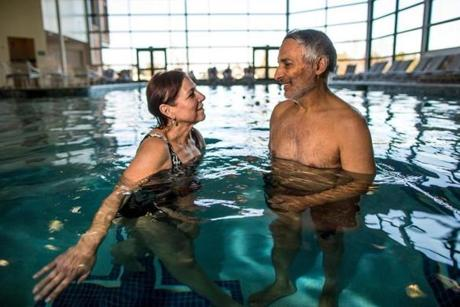 Naomi and Benjamin Cohen paused to talk during a swim at the Cranwell Resport's indoor pool.